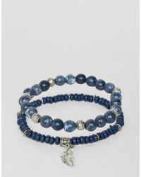 ASOS - 2 Pack Beaded Bracelet Pack With Semi Precious Stones In Blue - Lyst