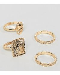 ASOS - Asos Design Curve Pack Of 4 Rings With Vintage Style Icon Design And Engraved Band In Gold - Lyst