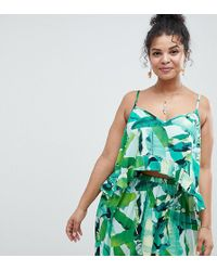 ASOS - Asos Design Curve Tropic Palm Floaty Crop Co-ord Top - Lyst