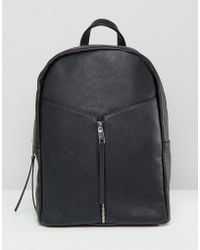 Pieces - Simple Backpack With Front Zip Detail - Lyst