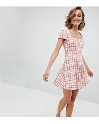 UNIQUE21 - Unique 21 Square Neck Mini Dress With Zip Front - Lyst