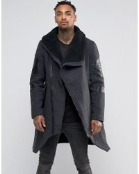 Black Kaviar - Asymetric Wool Coat With Fleece Collar - Lyst