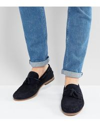 ASOS | Wide Fit Tassel Loafers In Navy Suede With Fringe And Natural Sole | Lyst