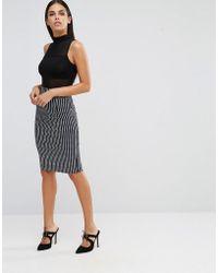 Vesper - Stripe Pencil Skirt - Lyst
