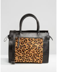 Urbancode - Leather Tote Bag With Leopard Front Pocket - Lyst
