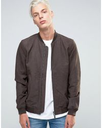 ADPT - Bomber Jacket In Suede With Two Way Zip - Lyst