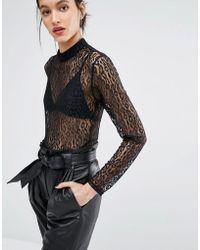 Just Female - Demi Bodysuit In Leopard Lace - Lyst
