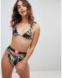 Jaded London - Jaded Multi Print Bikini Bottom With Belt Detail - Lyst