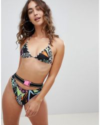 Jaded London - Jaded Multi Print Bikini Bottom With Belt Detail - Lyst