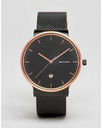 Skagen - Ancher Black Watch With Gold Dial Skw6296 - Lyst