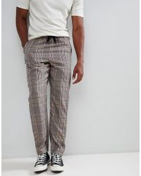 ASOS - Slouch Fit Trousers In Brown Check - Lyst