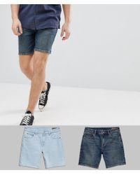 ASOS - Denim Shorts In Skinny Vintage Dark Wash & Light Wash Blue - Lyst