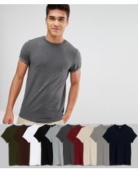ASOS DESIGN - Muscle Fit T-shirt With Roll Sleeve 10 Pack Save - Lyst
