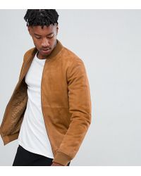 ASOS Tall Suede Bomber Jacket In Tan - Brown