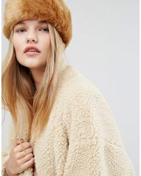 Pieces - Faux Fur Headband - Cathay Spice - Lyst