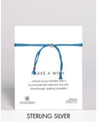 Dogeared - Make A Wish Multi Strand Blue Silk Adjustable Bracelet - Lyst