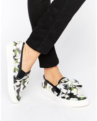 Faith - Bow Floral Print Slip On Sneakers - Lyst