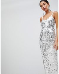 Club L - Mermaid Silver Sequins Strappy Fishtail Detailed Maxi Dress - Lyst