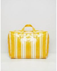 Mango - Stripe Plastic Carryall In Yellow Multi - Lyst