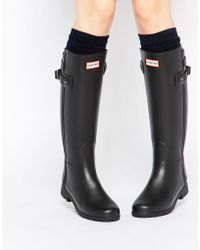 HUNTER - Original Refined Back Strap Black Wellington Boots - Lyst