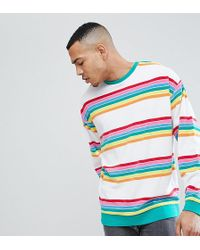 ASOS - Tall Oversized Sweatsirt In Rainbow Towelling Stripe - Lyst