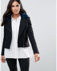 Helene Berman - Wool Blend Biker Jacket With Faur Fur Collar - Lyst