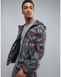 Perry Ellis - 360 Running Jacket Linear Camo Print In Heritage Blue - Lyst