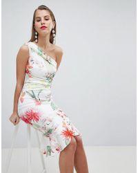 Lipsy - Lace One Shoulder Flippy Hem Midi Dress - Lyst