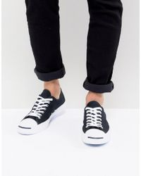 f91b5b35c7d0ac Lyst - Converse Jack Purcell Ox Leather Plimsolls In Black 1s962 in ...