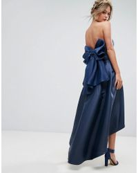 Chi Chi London - Bandeau Midi Dress With Exaggerated Bow Back - Lyst