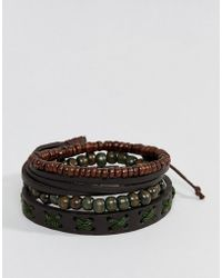 ASOS - Leather And Beaded Bracelet Pack In Brown And Khaki - Lyst