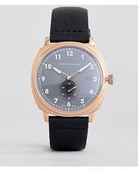 Larsson & Jennings - Meridian Leather Watch In Black 38mm - Lyst