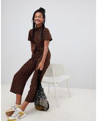 Monki - Tiger Print Cropped Jumpsuit - Lyst