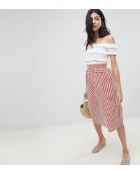 ASOS - Asos Design Tall Cotton Midi Skirt With Button Front In Stripe - Lyst