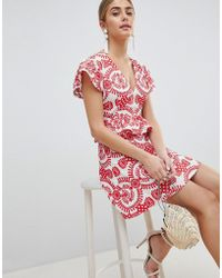 PrettyLittleThing - Embroidered Broiderie Dress - Lyst