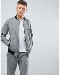 Boohoo - Skinny Fit Bomber In Grey Marl - Lyst