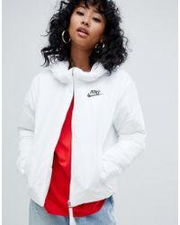 Nike - White Small Logo Padded Jacket - Lyst