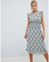 Vila - Floral Ruffle Dress - Lyst