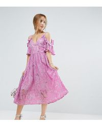 ASOS - Pink Lace Midi Dress With Eyelet Tape - Lyst