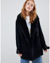 Monki - Faux Sherling Coat - Lyst
