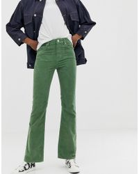 ASOS - Full Length Five Pocket Flare In Sage Green Cord - Lyst