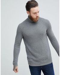 ASOS - Ribbed Wool Roll Neck Jumper In Charcoal - Lyst