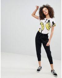Bershka - Jogging Trousers With Drawstring Waist In Black - Lyst