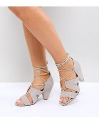 8c8bb00de Missguided Satin Lace Up Barely There Heeled Sandals in Red - Lyst