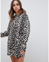 ee4634622c9a Motel Metis Tie Neck Shirt Dress In Leopard Print in Natural - Lyst