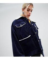 Weekday - Cord Teddy Jacket In Navy - Lyst