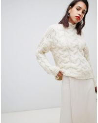 Mango - Oversized Chunky Cable Knitted Jumper In Light Beige - Lyst