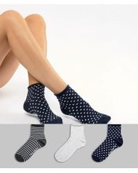 French Connection - 3 Pack Stripe And Polka Dot Socks - Lyst