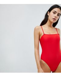 South Beach - Red High Leg Square Neck Swimsuit - Lyst