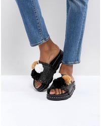 Sixtyseven - Belle Black Raffia Pom Slide Sandals - Lyst